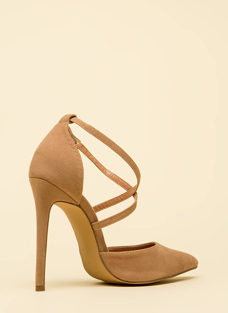Say Hi To My X Pointy Strappy Heels TAUPE (Final Sale)
