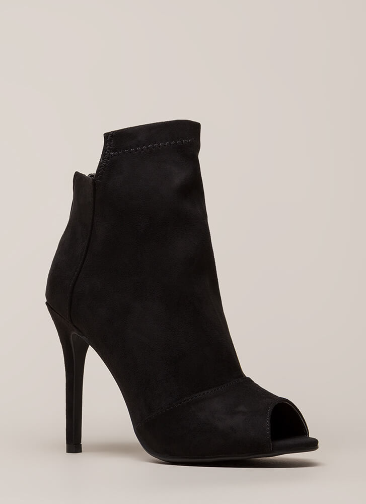 Come Say High Paneled Peep-Toe Booties BLACK