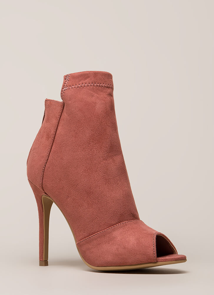 Come Say High Paneled Peep-Toe Booties MAUVE