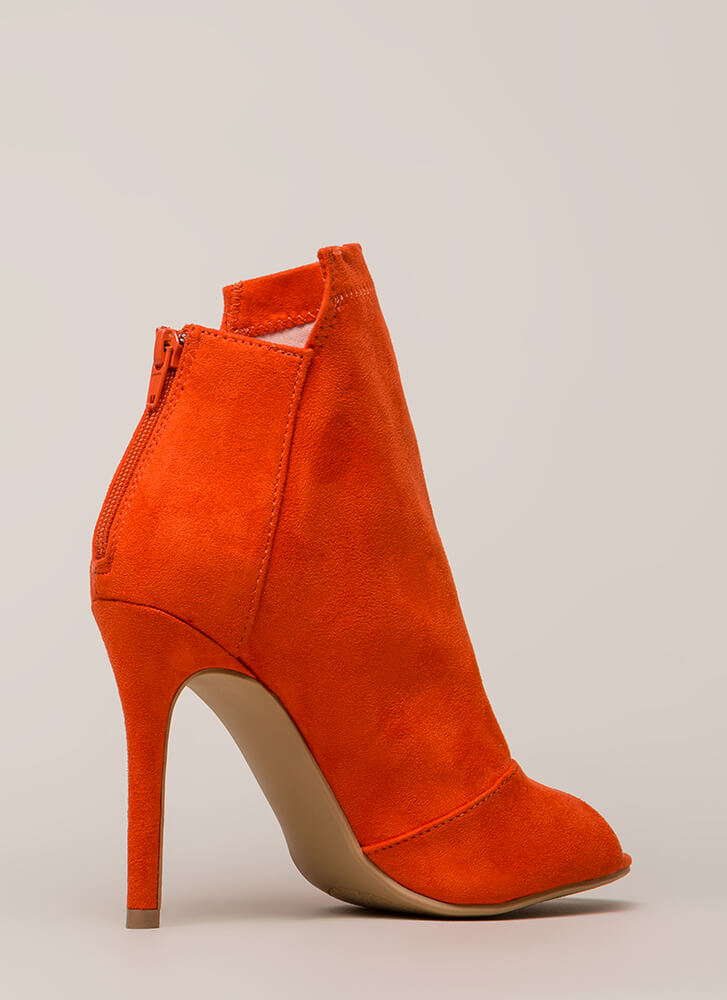 Come Say High Paneled Peep-Toe Booties ORANGE
