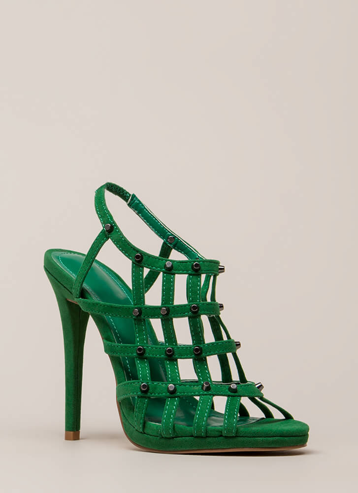 Grid To See You Studded Caged Heels GREEN