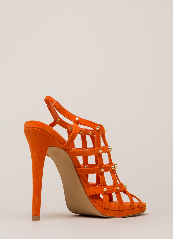 Grid To See You Studded Caged Heels ORANGE