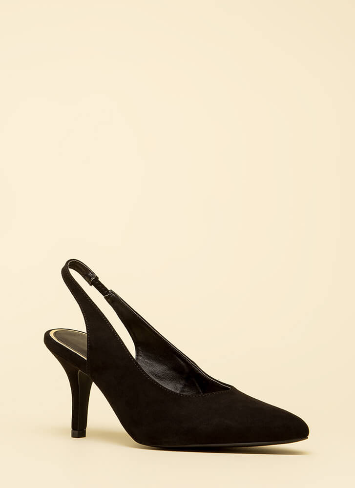 With Ease Faux Suede Slingback Heels by Go Jane