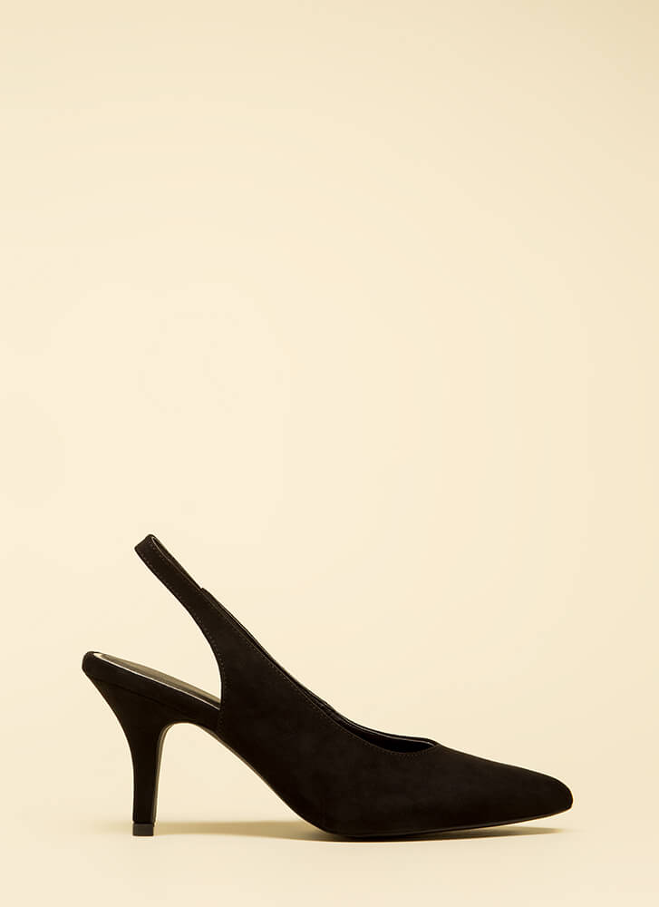 With Ease Faux Suede Slingback Heels BLACK