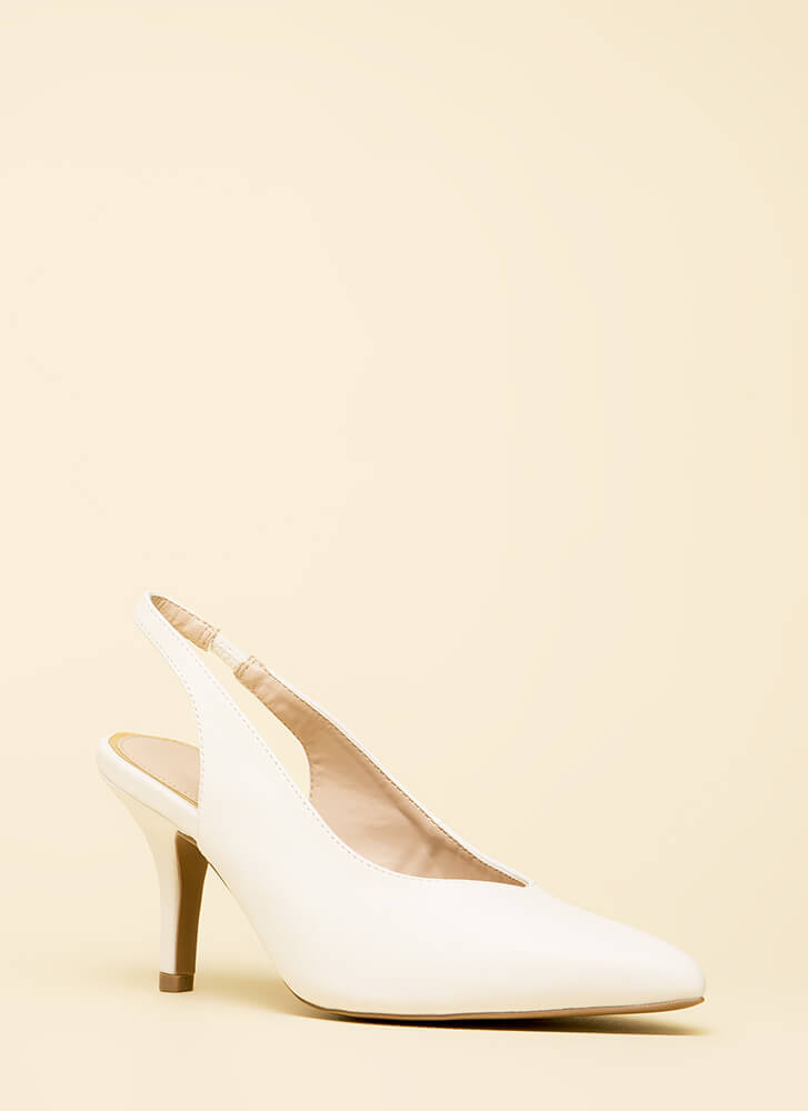 With Ease Faux Leather Slingback Heels WHITE