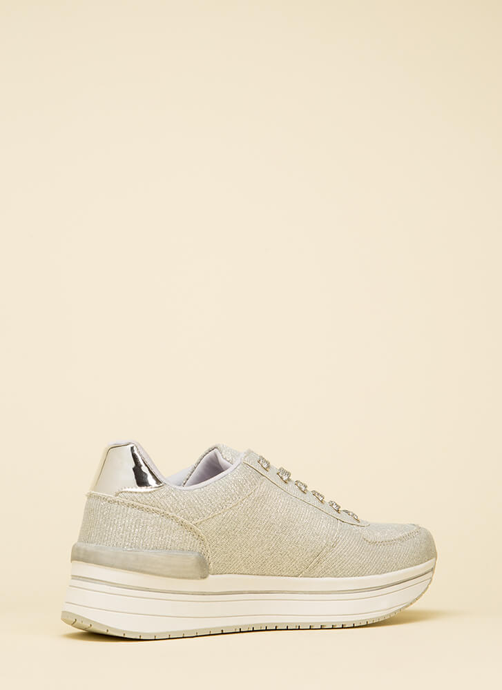 Go For The Glitter Platform Sneakers SILVER