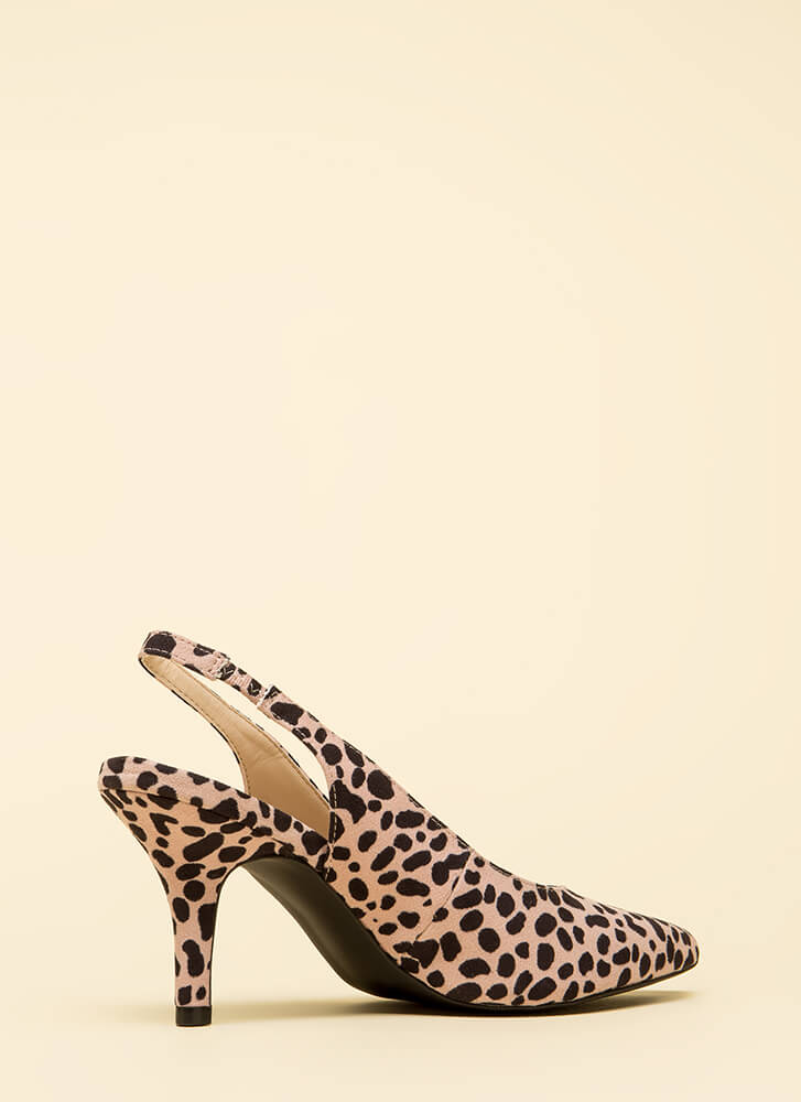 With Ease Spotted Slingback Heels NUDE
