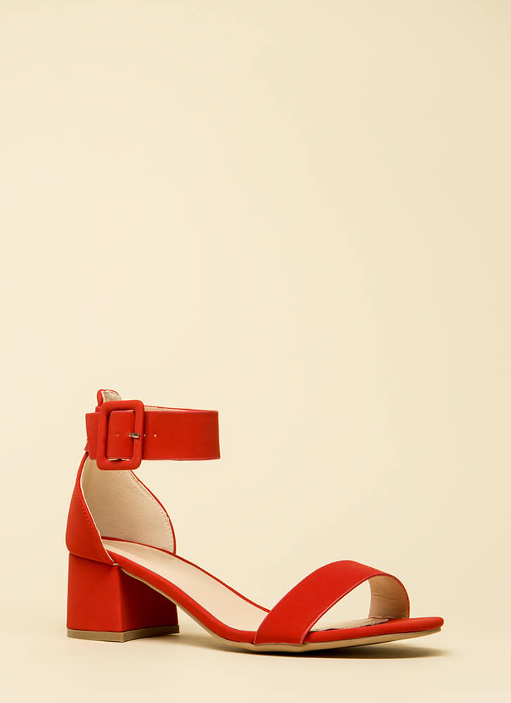 Model Off Duty Ankle Strap Block Heels RED