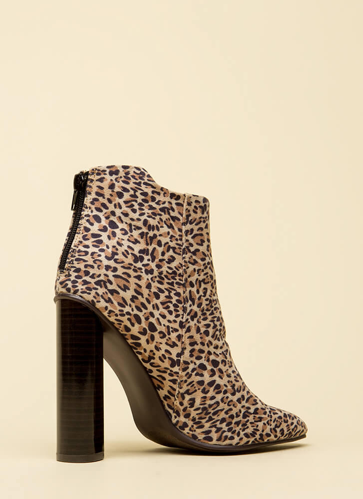You Animal Chunky Leopard Booties CAMEL