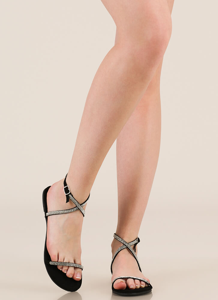 X Game Strappy Jeweled Sandals BLACK