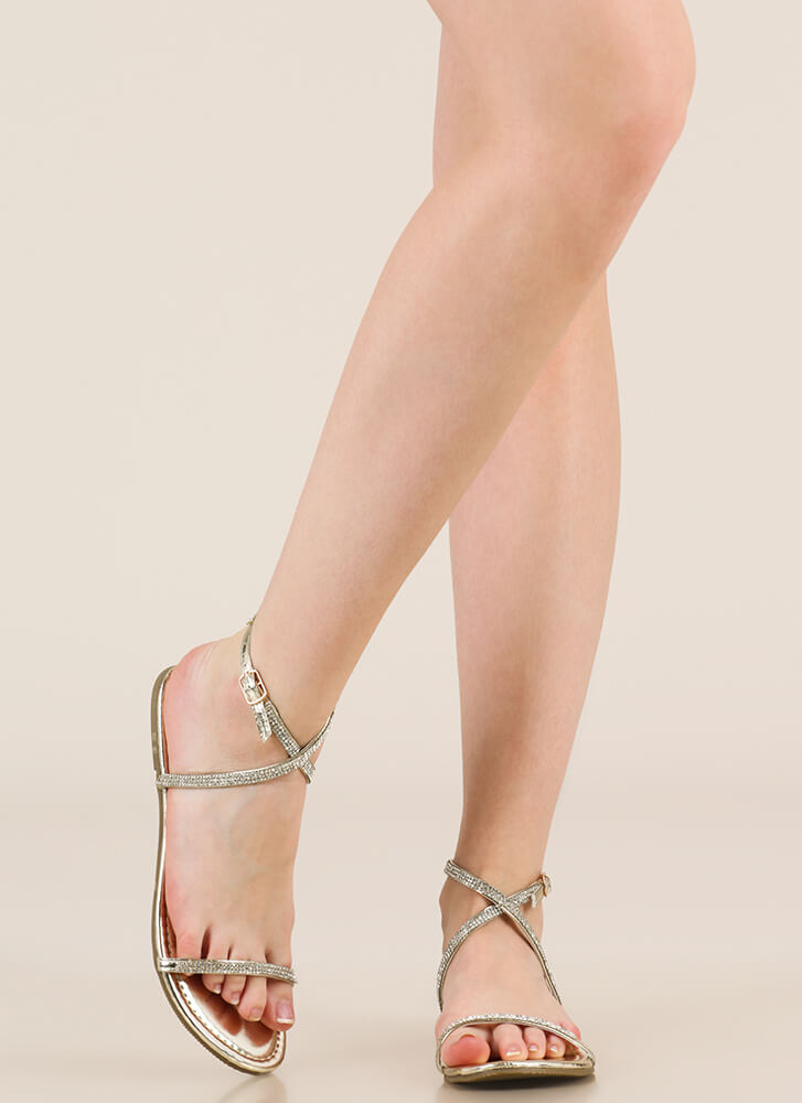 X Game Strappy Jeweled Sandals GOLD