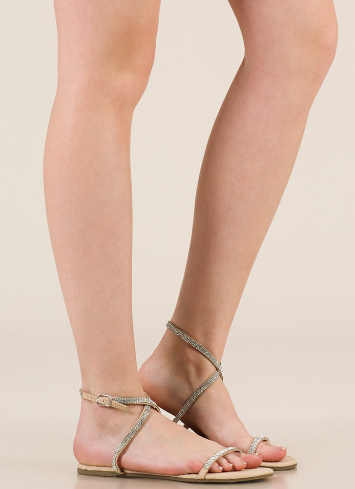 X Game Strappy Jeweled Sandals NUDE
