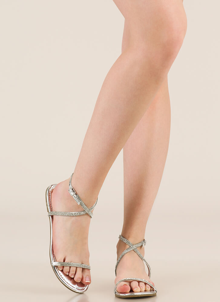 X Game Strappy Jeweled Sandals SILVER