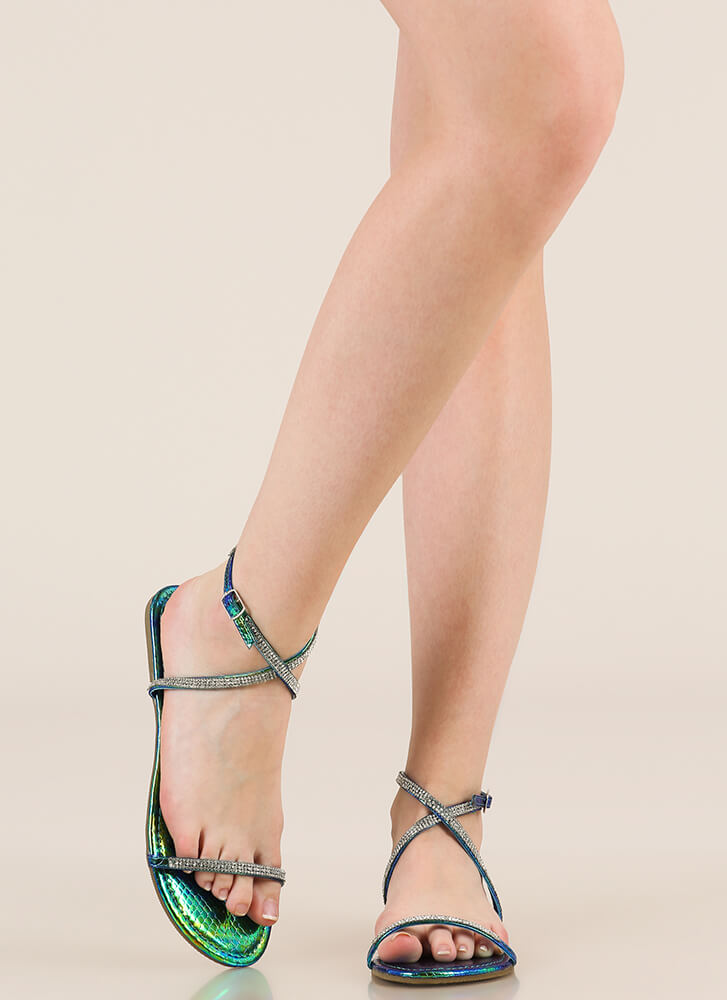 X Game Holographic Jeweled Sandals GREEN