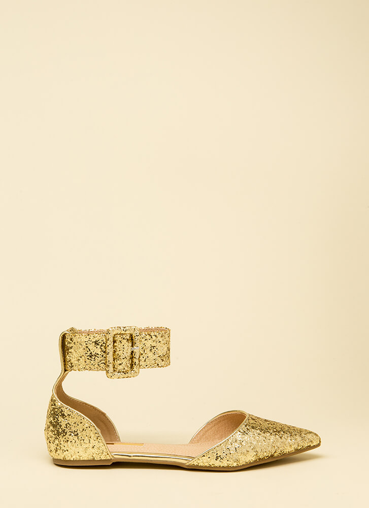 Good Point Glittery Ankle Strap Flats GOLD