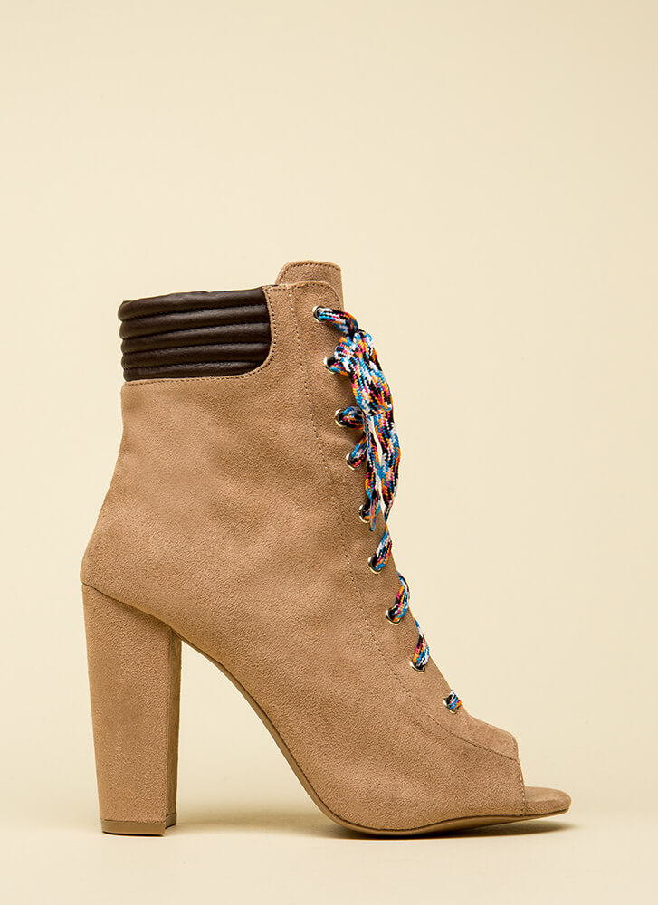 Trading Laces Chunky Peep-Toe Booties WARMTAUPE
