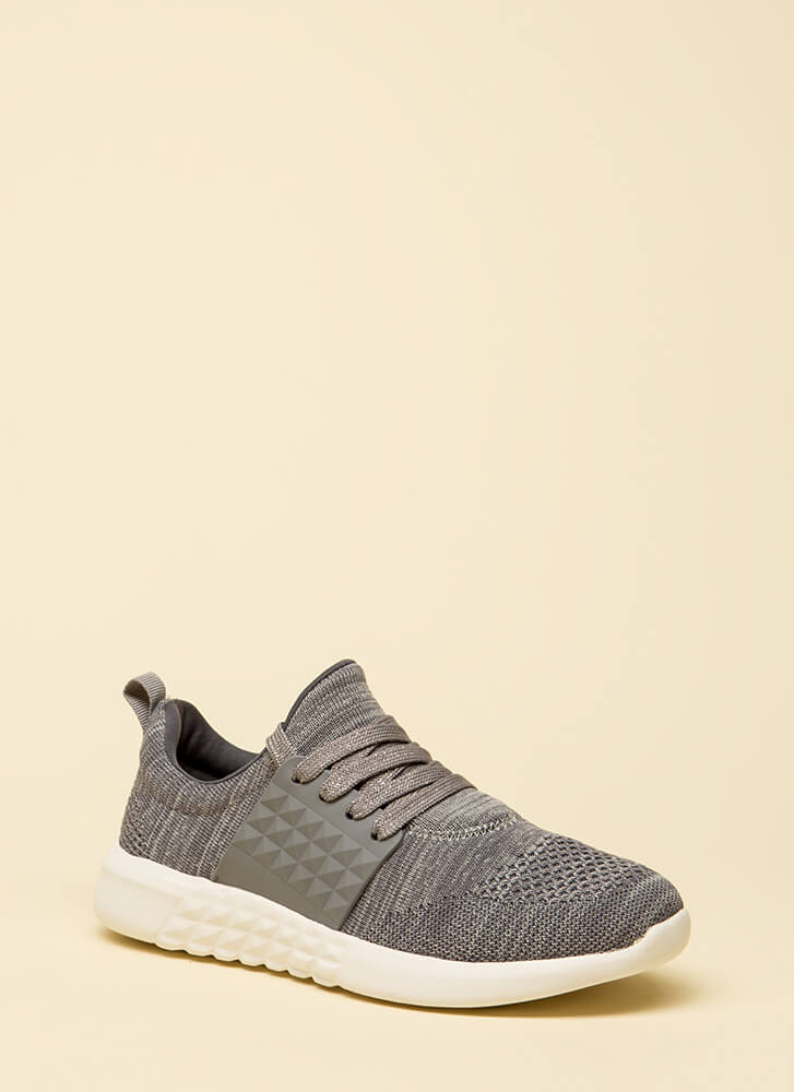 In Shape Knit Platform Sneakers CHARCOAL
