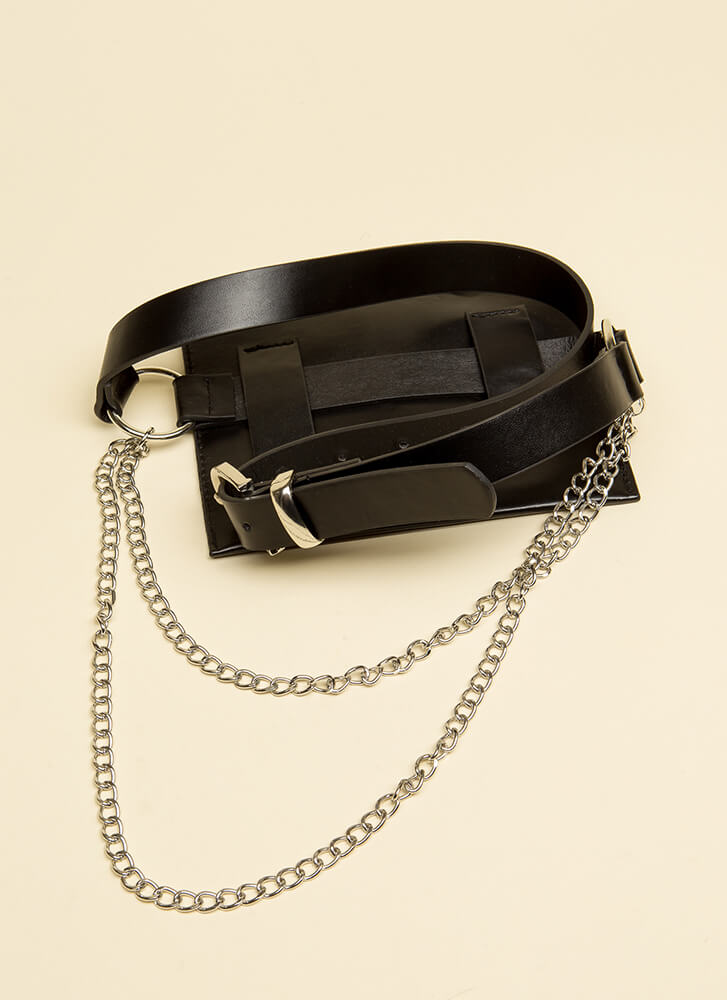 Chained Melody Moto Fanny Pack BLACK