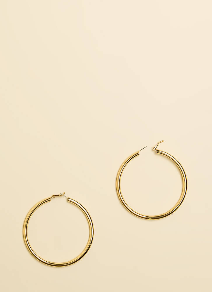 I Can't Live Without You Hoop Earrings GOLD