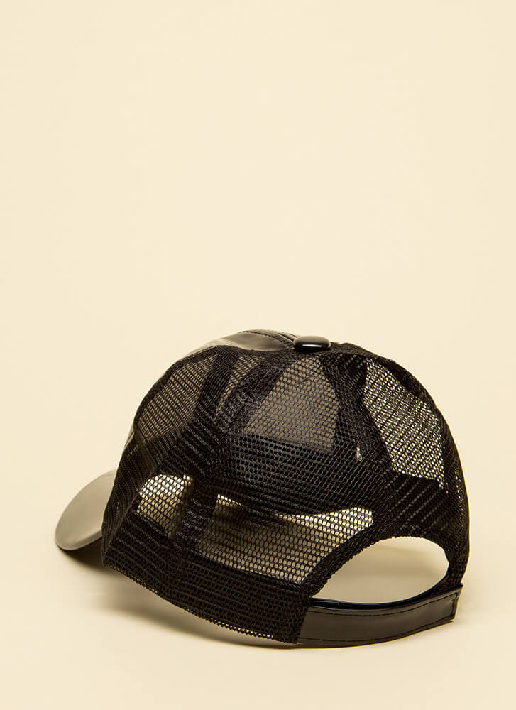 Keep On Truckin' Faux Patent Cap BLACK