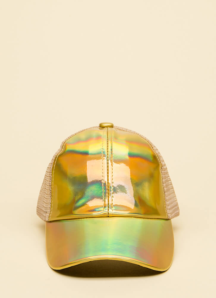Keep On Truckin' Faux Patent Cap GOLD
