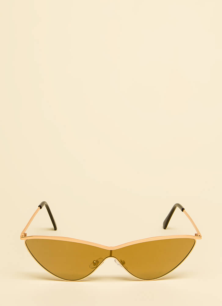 Cat Woman Flared Sunglasses BROWNGOLD