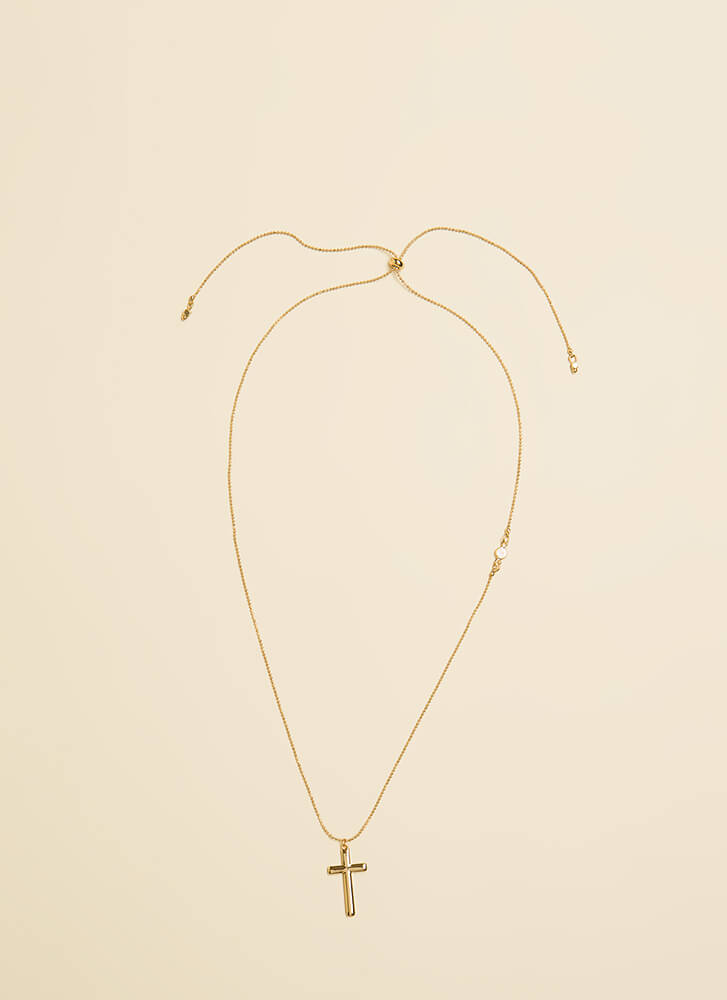 Delicate Balance Cross Charm Necklace GOLD