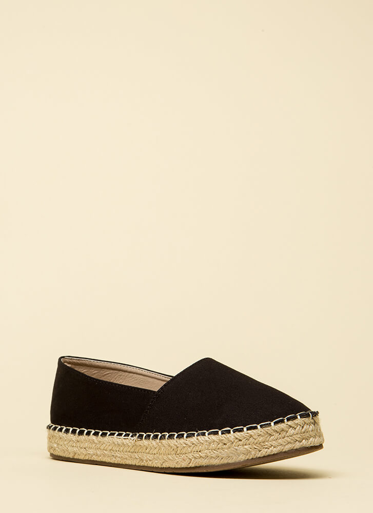 On Vacation Canvas Moccasin Flats BLACK