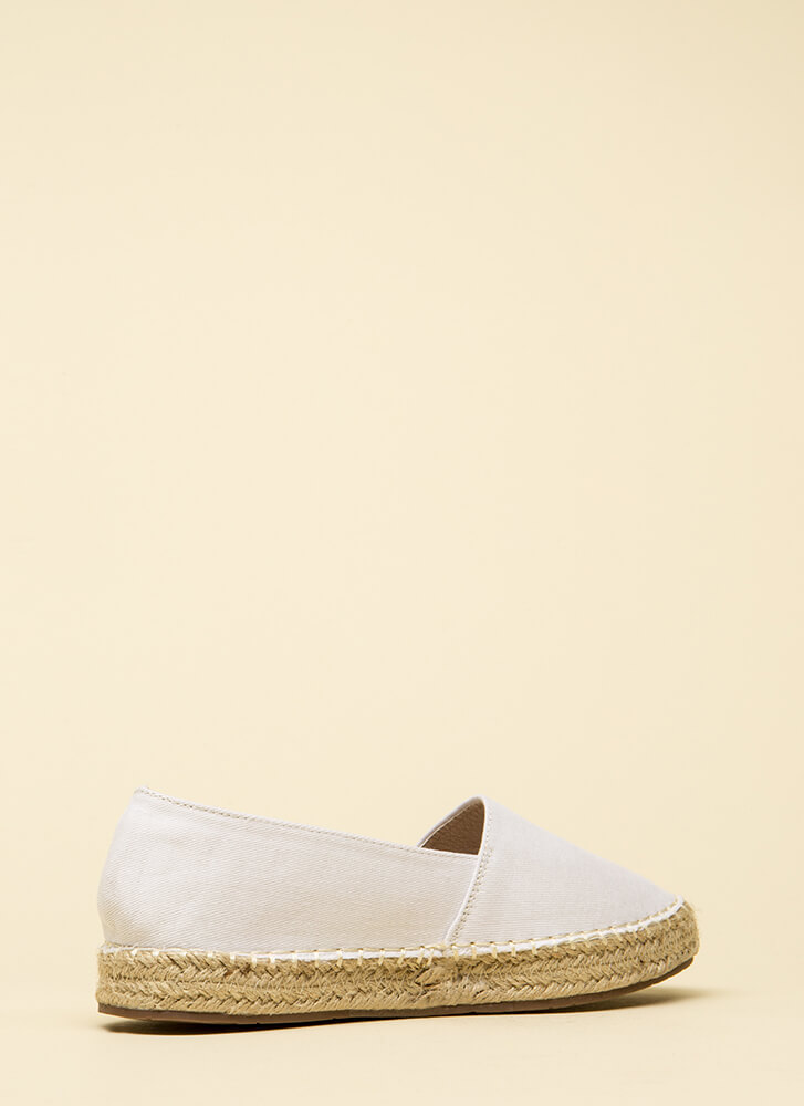 On Vacation Canvas Moccasin Flats WHITE