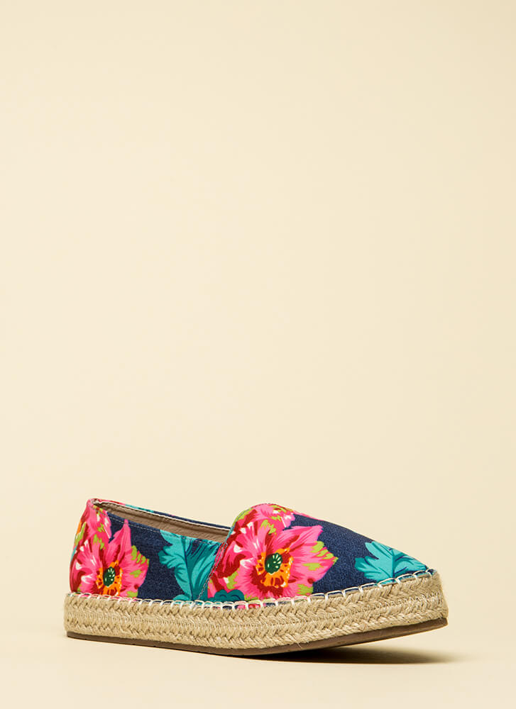 On Vacation Floral Moccasin Flats MULTI