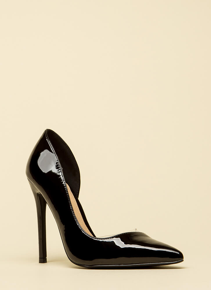 No Illusion Pointy Faux Patent Pumps BLACK