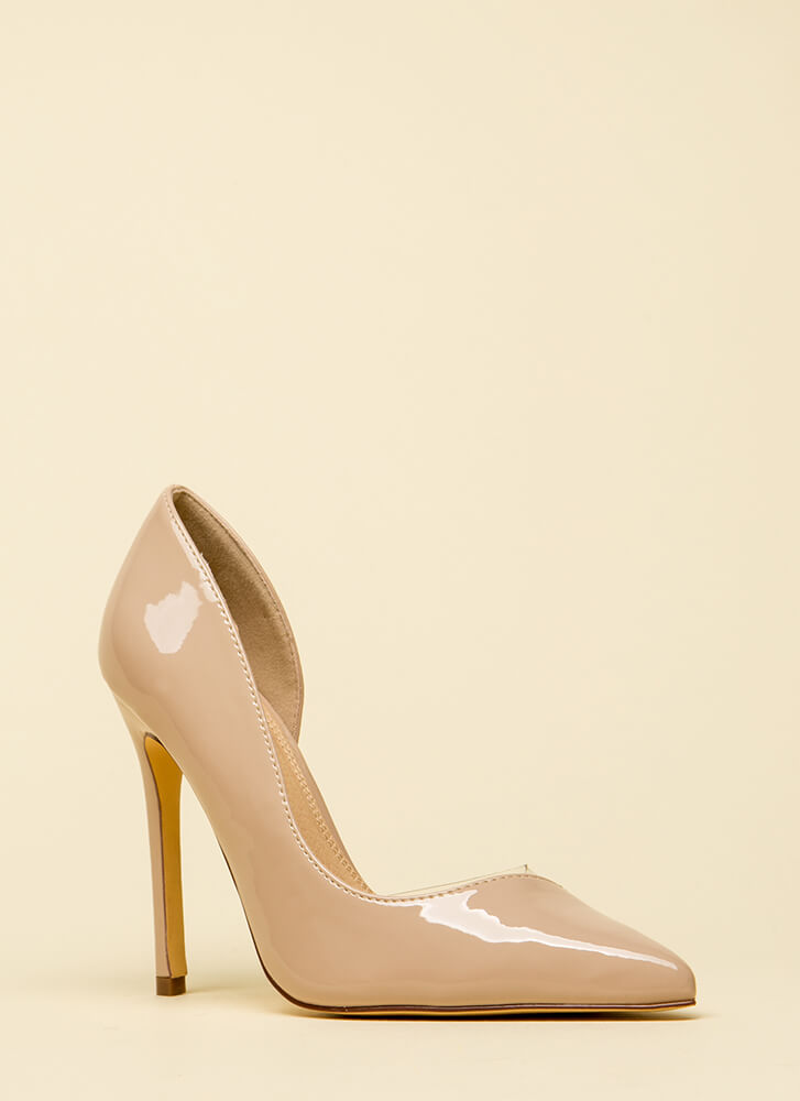 No Illusion Pointy Faux Patent Pumps NUDE