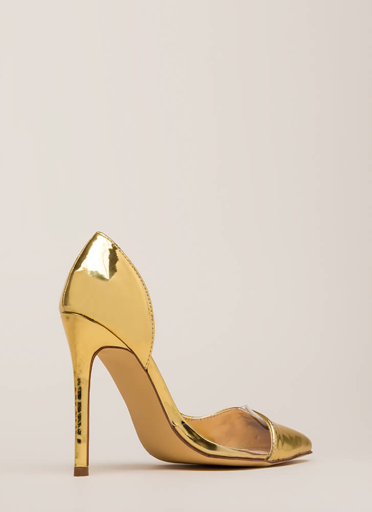 No Illusion Pointy Metallic Pumps GOLD