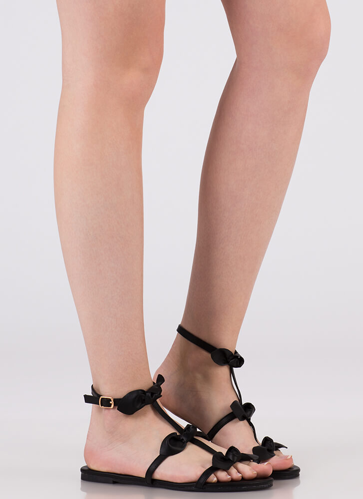 Bows Before Bros Satin Caged Sandals BLACK