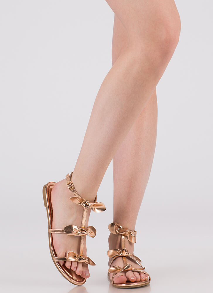 Bows Before Bros Caged Metallic Sandals ROSEGOLD