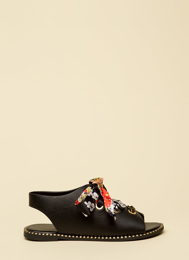So Fresh Lace-Up Ribbon Sandals BLACK