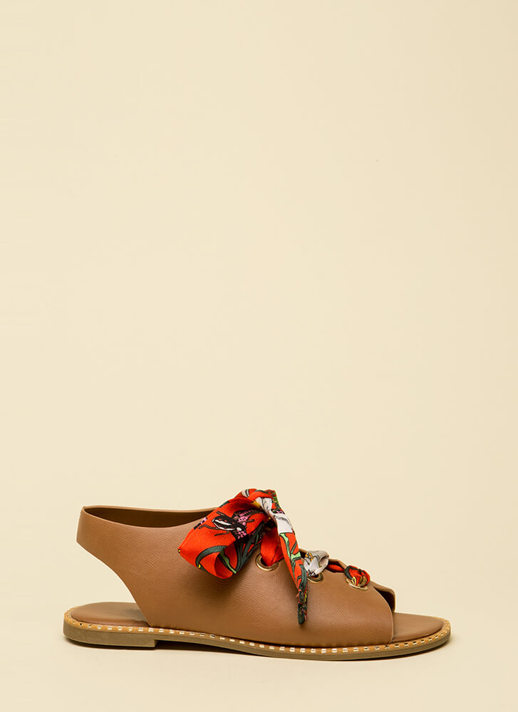 So Fresh Lace-Up Ribbon Sandals TAN