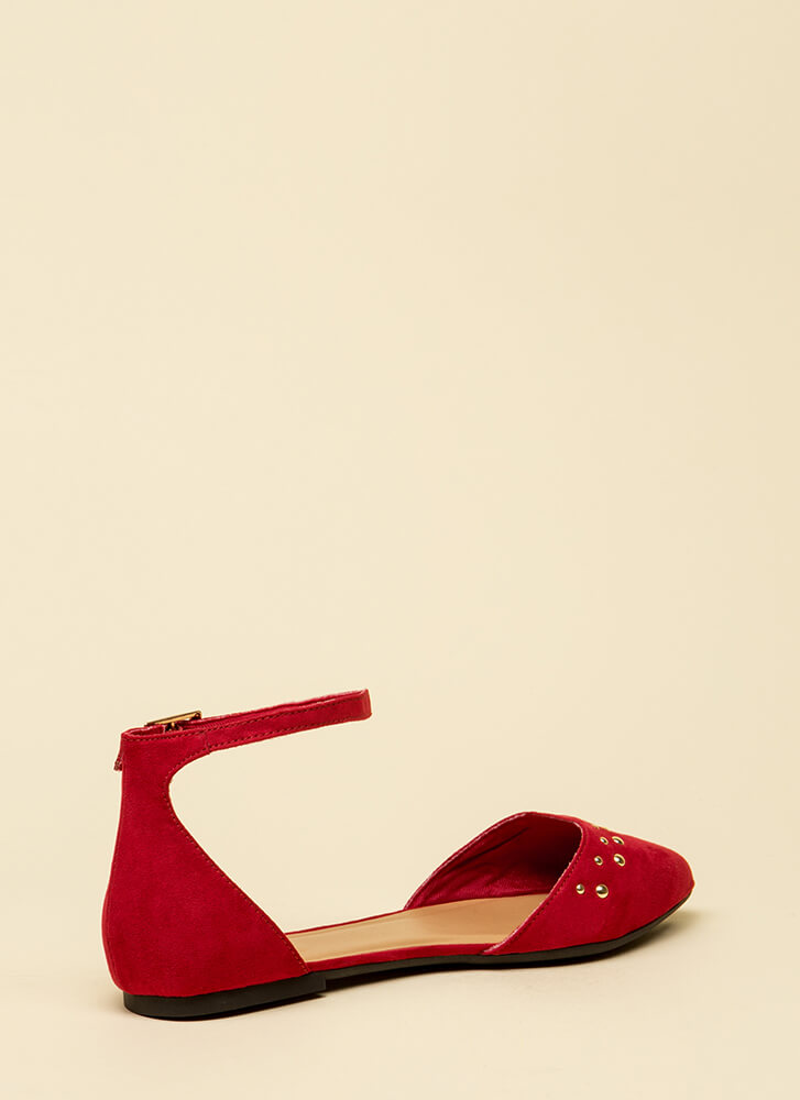 Little Details Studded Ankle Strap Flats RED (Final Sale)