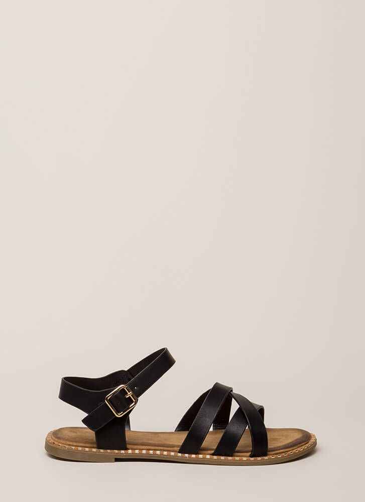 Always A Pleasure Strappy Sandals BLACK