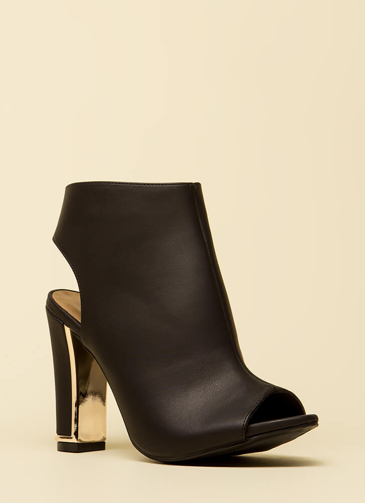 Shiny And New Cut-Out Peep-Toe Booties BLACK