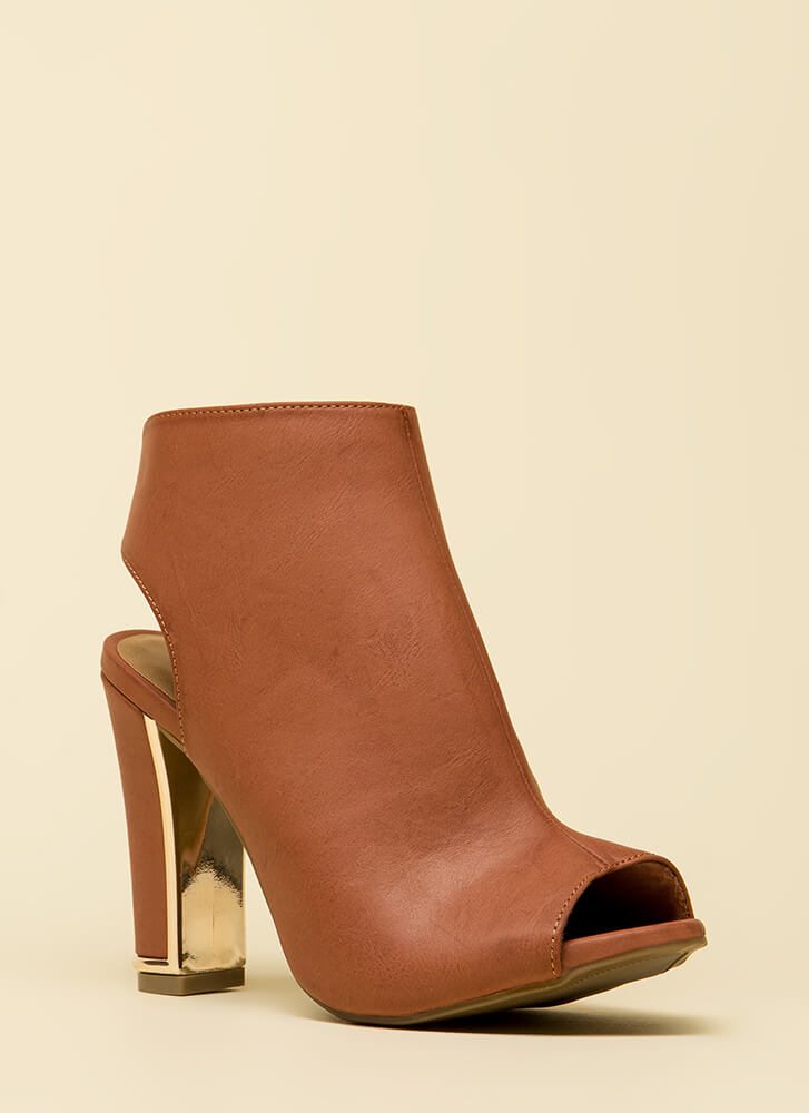 Shiny And New Cut-Out Peep-Toe Booties MOCHA