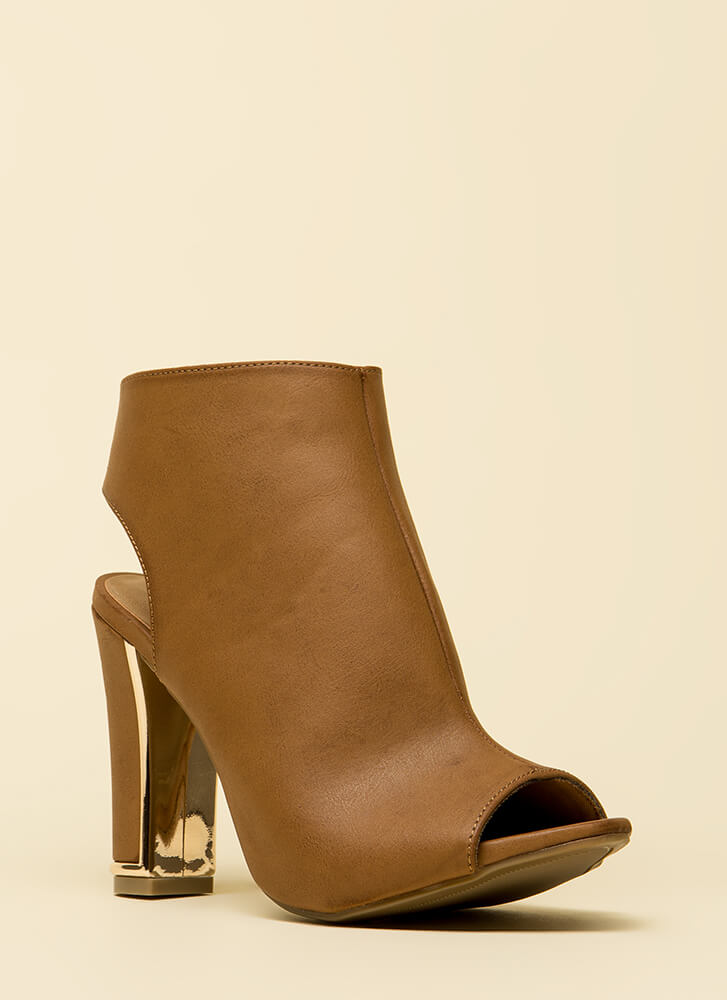 Shiny And New Cut-Out Peep-Toe Booties TAN
