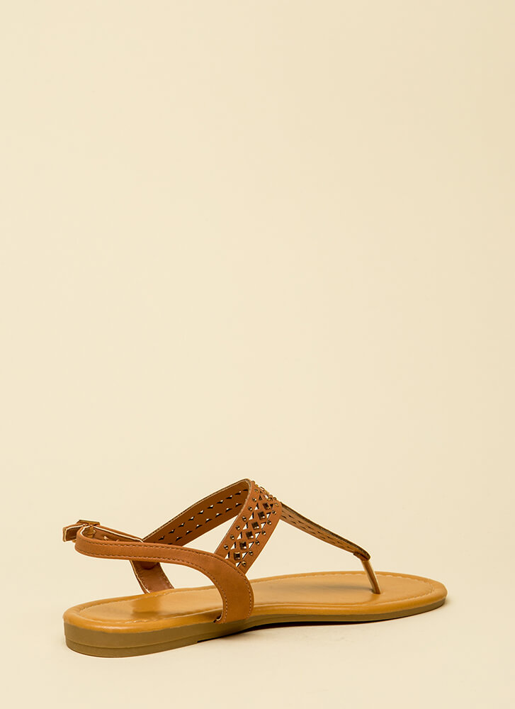 Treasured Jeweled T-Strap Sandals NATURAL