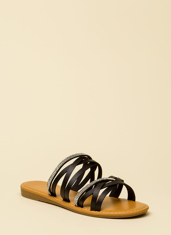 If It Makes You Strappy Jeweled Sandals BLACK