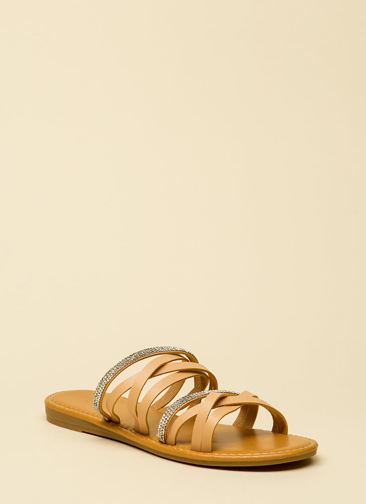 If It Makes You Strappy Jeweled Sandals NATURAL