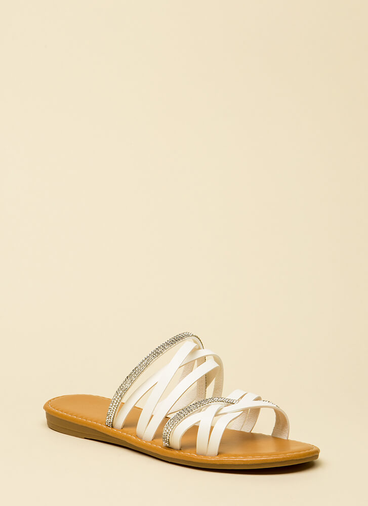 If It Makes You Strappy Jeweled Sandals WHITE
