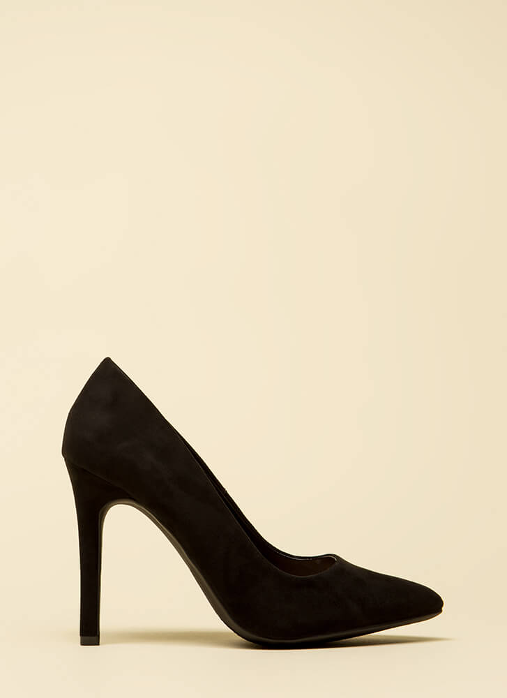 Take A Pledge Pointy Faux Suede Pumps BLACK