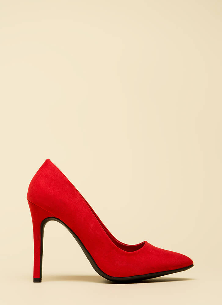 Take A Pledge Pointy Faux Suede Pumps RED