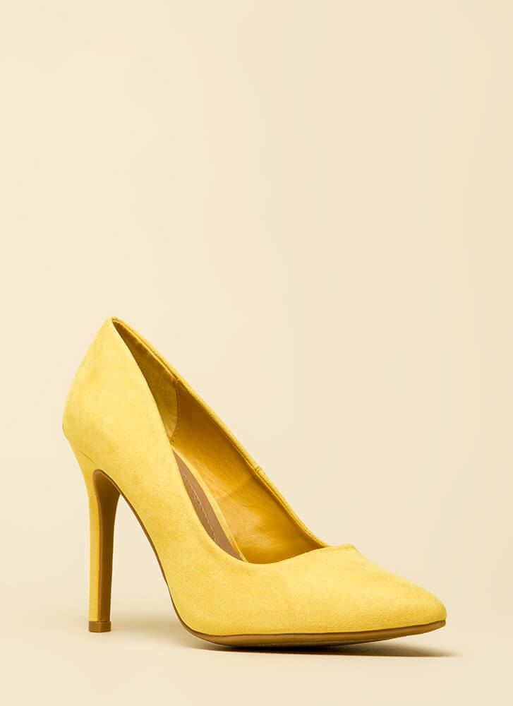 Take A Pledge Pointy Faux Suede Pumps YELLOW