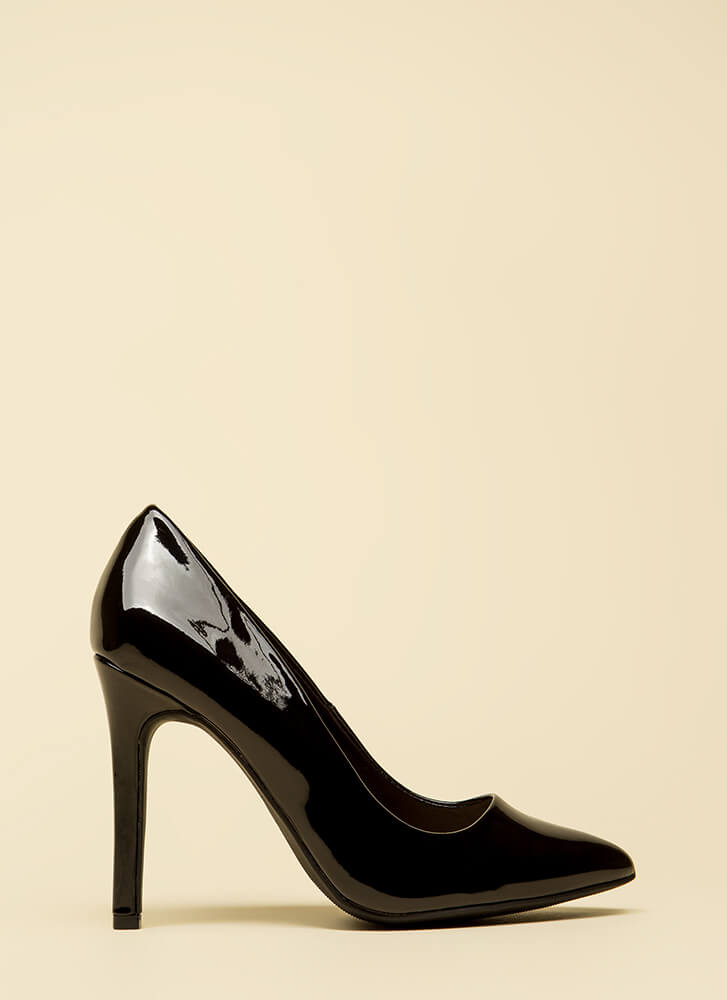 Take A Pledge Pointy Faux Patent Pumps BLACK